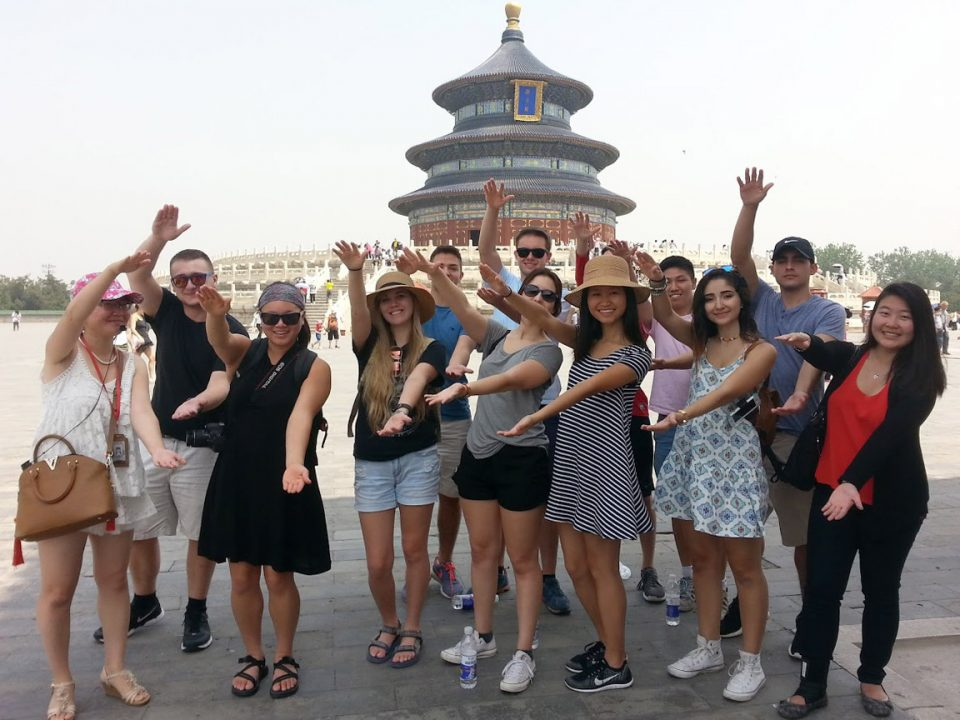 Students Gator Chomp in front of the Temple of Heaven in Beijing