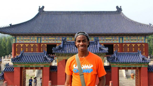 Student with a Gator shirt at the Temple of Heaven Park