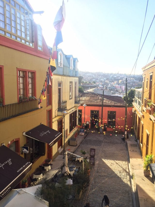 Overlooking a street in Valparaíso, Chile