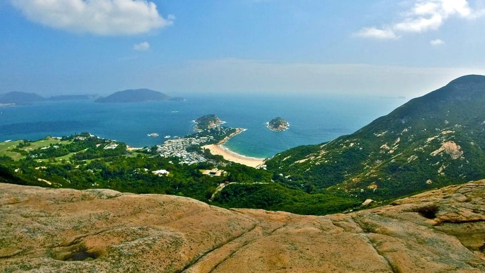 Overlooking the water from Dragon's Back trail on Hong Kong Island