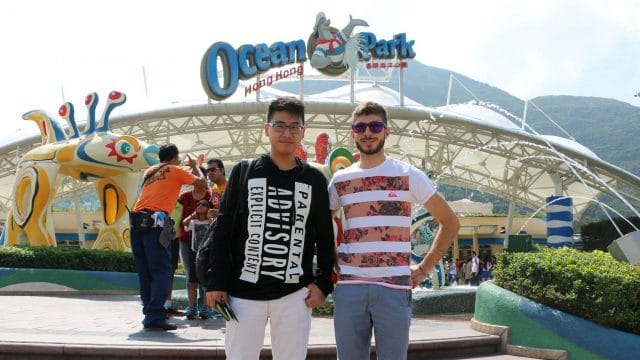 Two young men at Ocean Park in Hong Kong, China