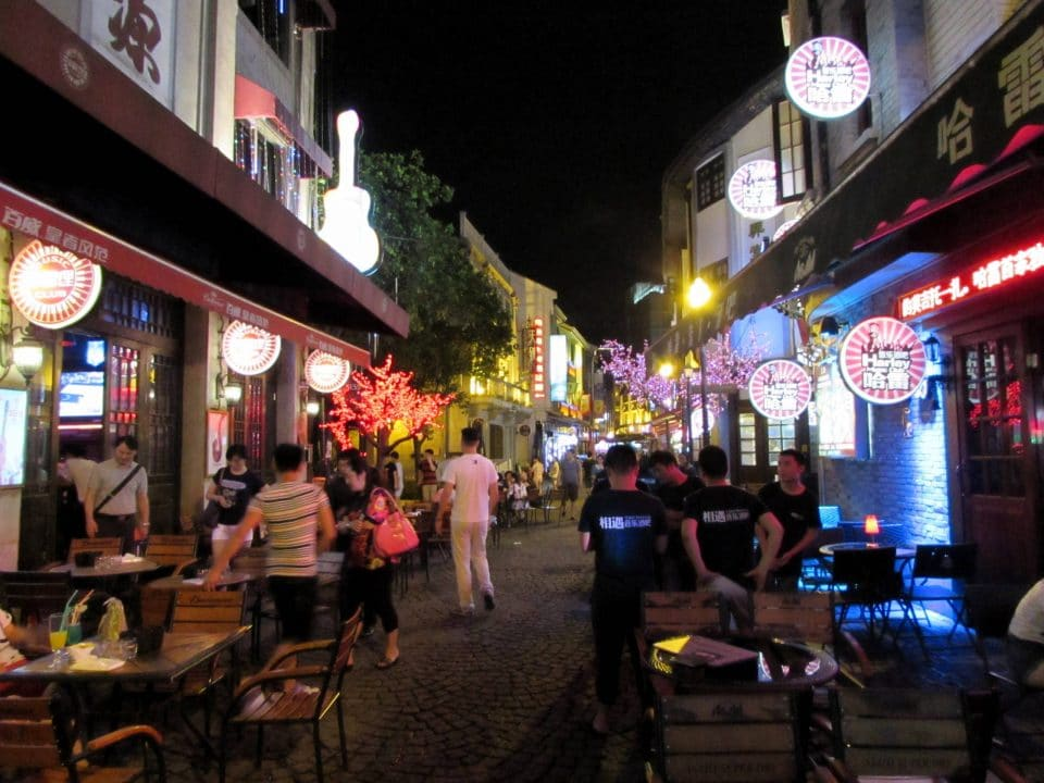 Laowaitan entertainment area at night in Ningbo, China