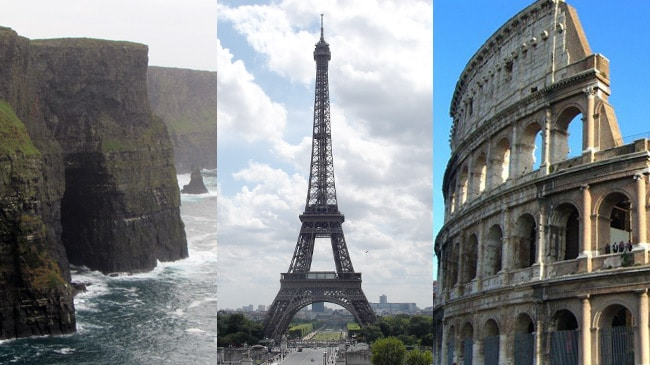 Cliffs of Moher in Ireland, Eiffel Tower in Paris, and the Colosseum in Rome