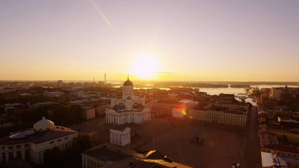 Overlooking Helsinki, Finland at sunrise