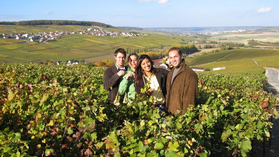 Students at a vineyard in France