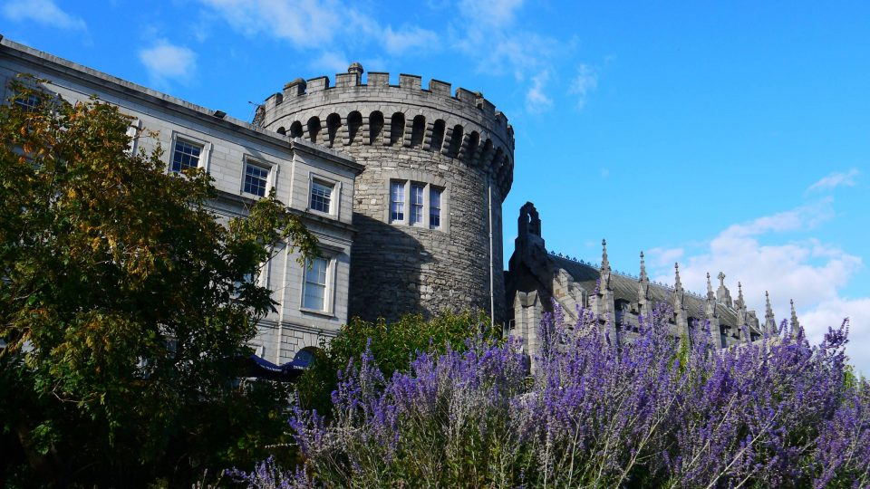 Dublin Castle with purple flowers in the foreground