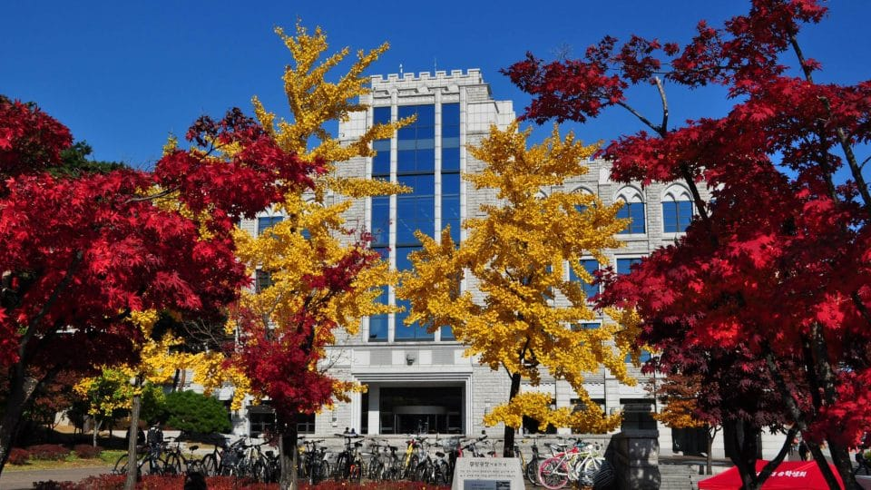 Korea University Business School with autumn leaves in Seoul, South Korea