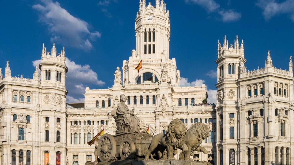 Cybele Palace and Fountain at the Plaza Cibeles in Madrid, Spain