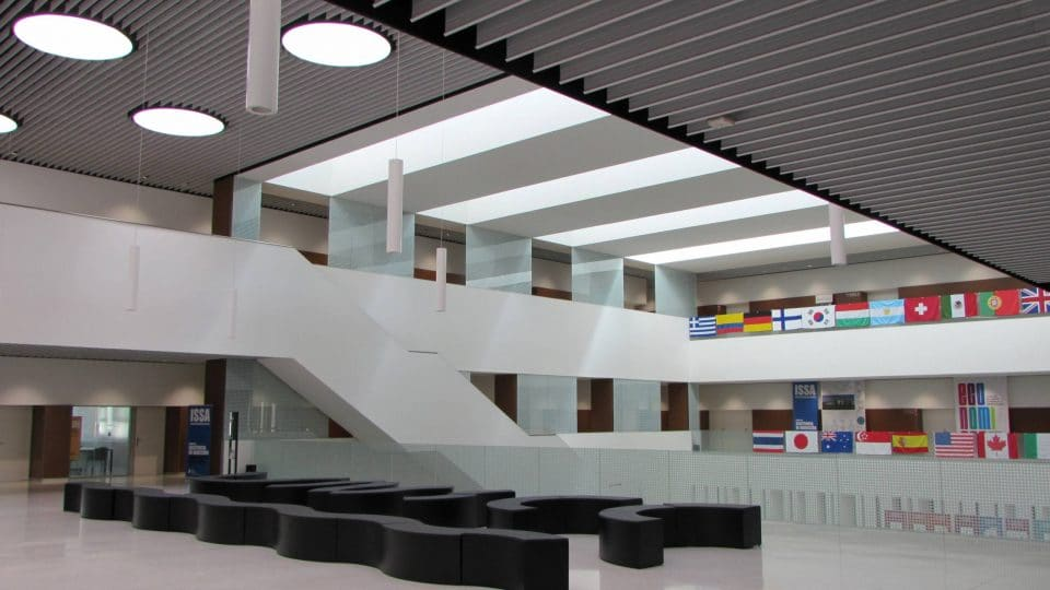 Inside the Universidad de Navarra's Economy and Business building in Pamplona, Spain