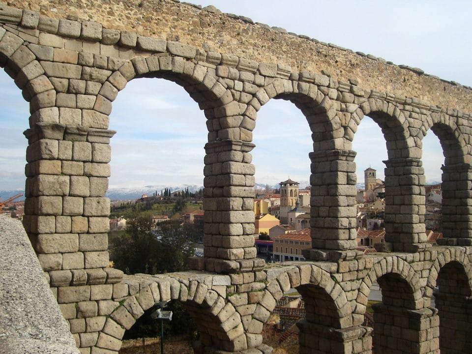 Aqueduct with scenic views in Segovia, Spain