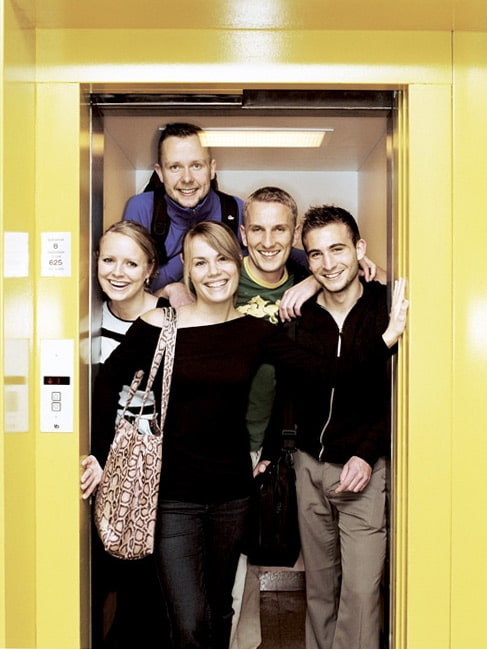 Students in an elevator at Aarhus University in Denmark
