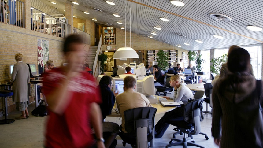 Students in a study area at Aarhus University in Denmark