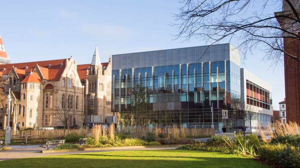 Business School building at University of Manchester, England