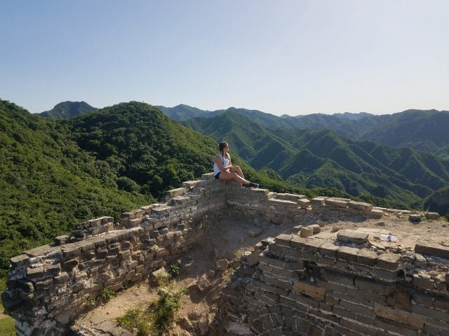 Lone student looks on at the Great Wall of China