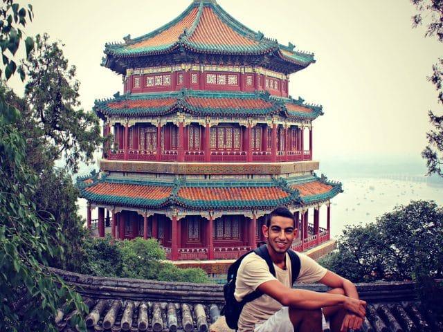 Student at Kunming Lake (Summer Palace), Beijing, China