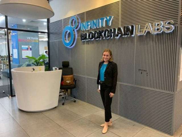 Female intern at Infinity Blockchain Labs in Ho Chi Minh City, Vietnam