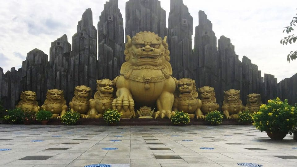 Golden Unicorn statues at Suoi Tien Theme Park in Ho Chi Minh City, Vietnam
