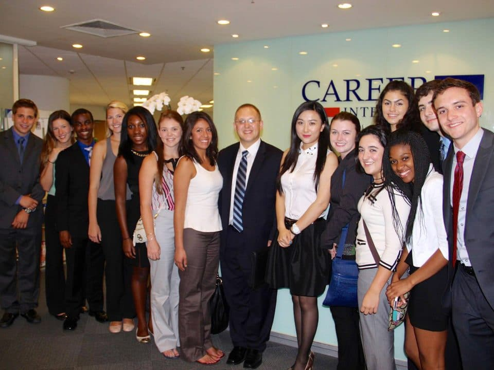 Jason Ward with a group of students in a career center in Beijing, China