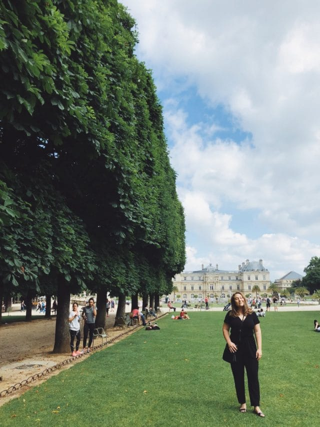 Jardin du Luxembourg Lawn with Student in Paris, France