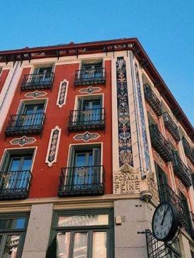 Apartment building in Plaza Mayor in Madrid, Spain.