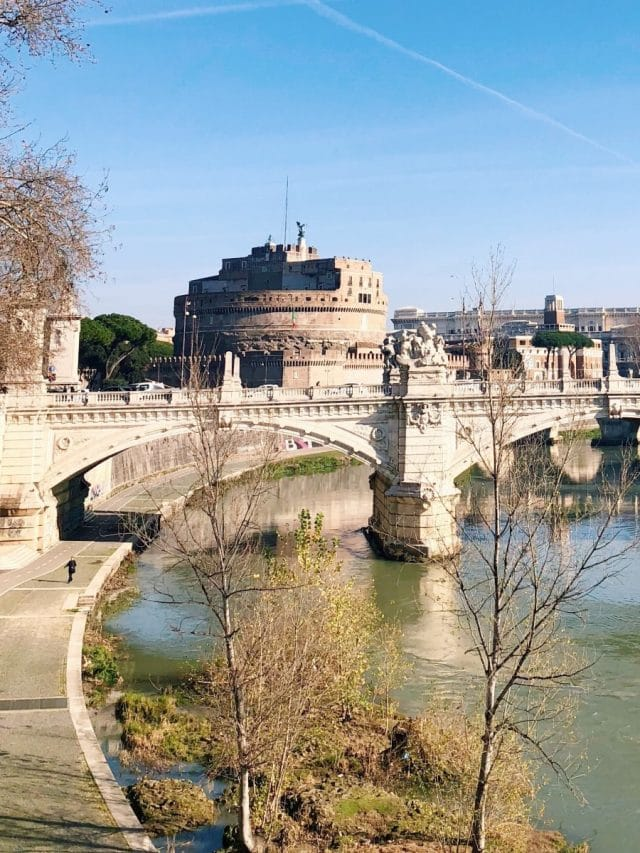 Landscape of Ponte Sant Angelo in Rome, Italy