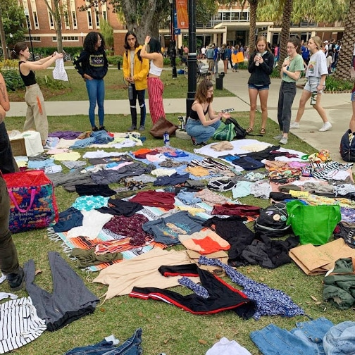 WGG clothing swap in the plaza