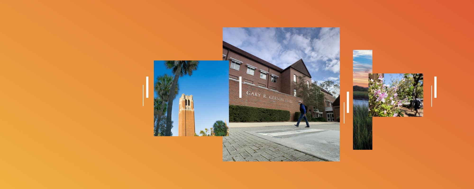 Orange background with images of campus including large tower, Gerson Hall.